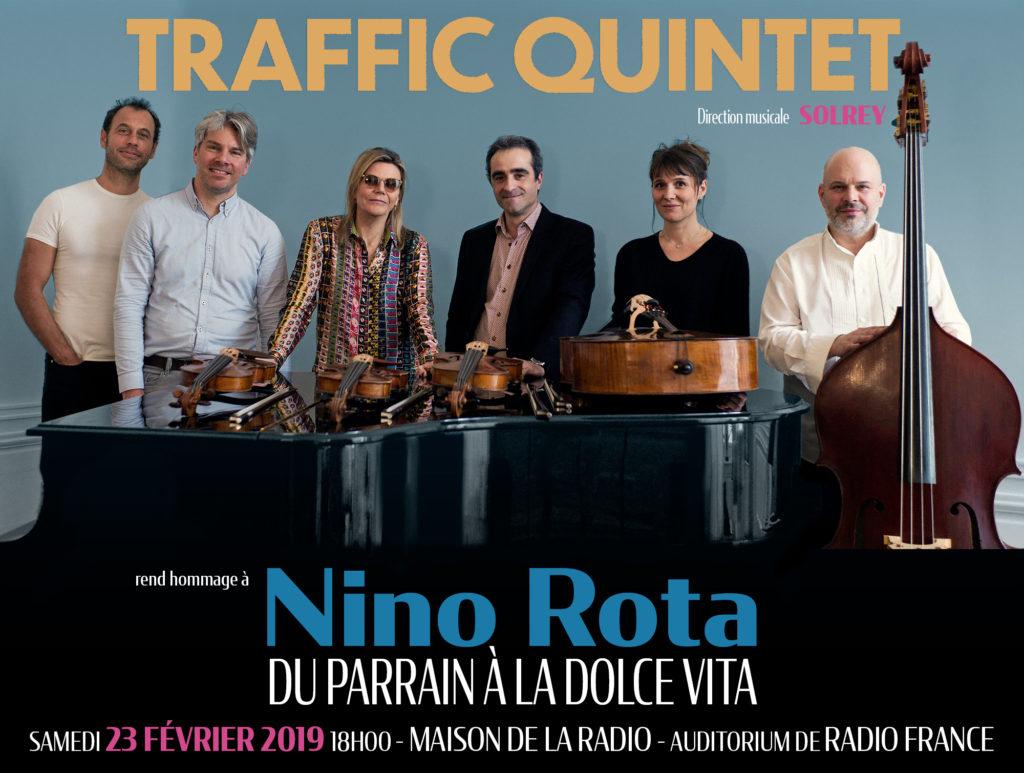 Affiche du concert 'Traffic Quintet rend hommage à Nino Rota' le 23 février 2019 à la Maison de la Radio